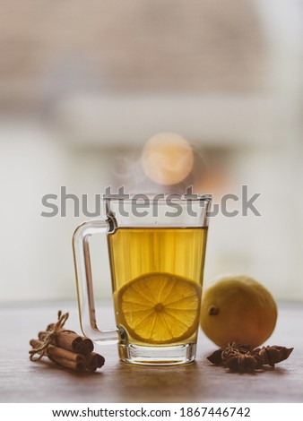 Cup of lemon hot tea honey and cinnamon stick with dried star anise (anason) .Cold season herbal drink detox . Copy text space Stok fotoğraf ©