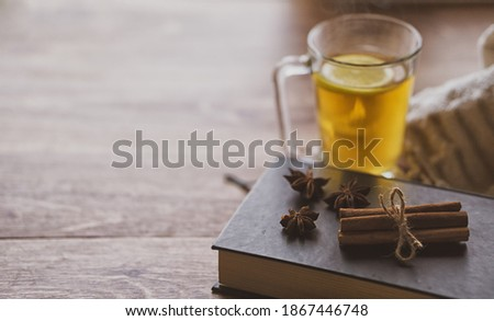 Cup of lemon hot tea honey and cinnamon stick with dried star anise (anason) on a book .Cold season herbal drink detox . Copy text space Stok fotoğraf ©