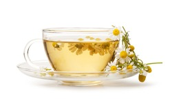 Cup of medicinal chamomile tea isolated on white background