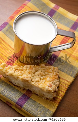 cup of milk and a piece of cake on the table