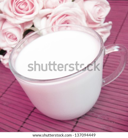 cup of milk and rose