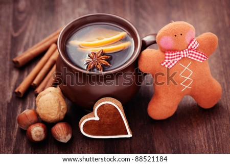 cup of mulled wine with spices - food and deink