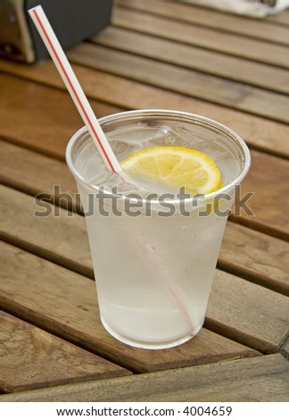 cup of refreshing ice cold water with lemon