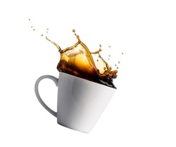 cup of splashing coffee isolated on white