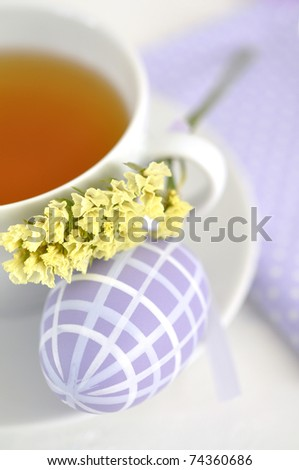 Cup of tea and Easter egg