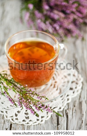 Cup of tea and heather
