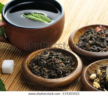 Cup Of Tea And Loose Tea Assortment - stock photo
