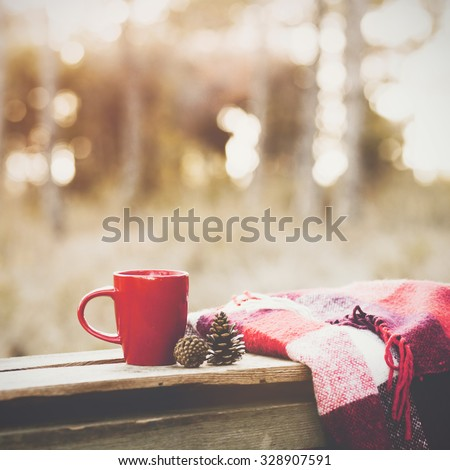 Cup of tea and warm plaid blanket on wooden rustic bench, picnic in the autumn forest. Fall weekend. Photo toned, selective focus.