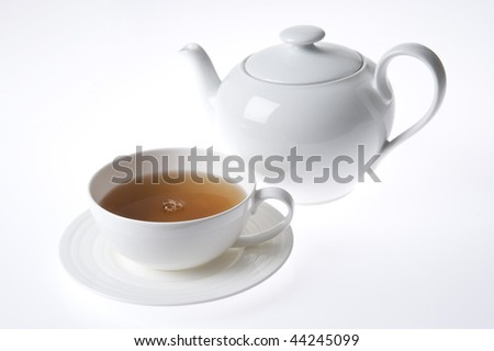 cup of tea and white teapot isolated