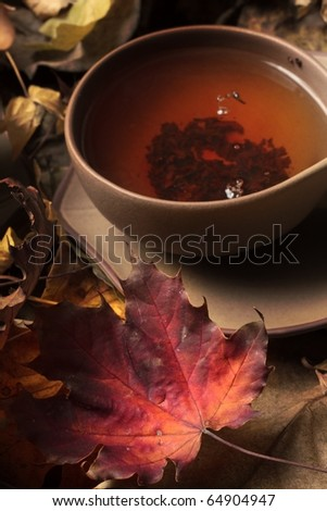 Cup of tea - autumn leafs
