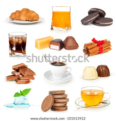 cup of tea, coffee and glass of juice with candy chocolate cookies collection isolated on white