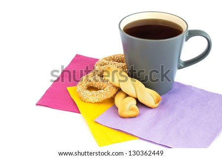 Cup of tea, cookies  and rusks  isolated on white background.