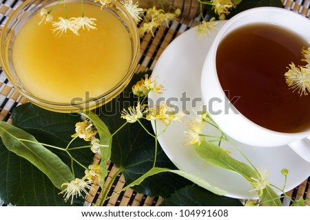 cup of tea from the flowers of lime and lime tea