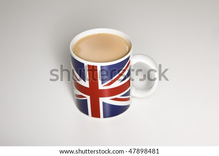 Cup of tea in an union jack mug
