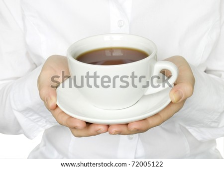 cup of tea in hands of women isolated on white