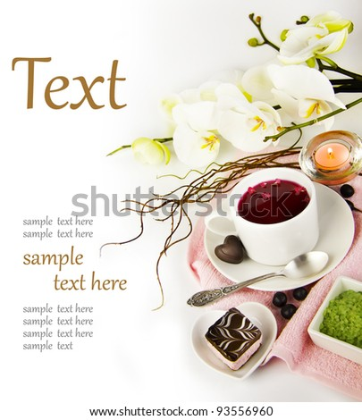 cup of tea in the spa  (With sample text)