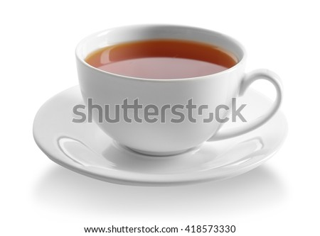 Cup of tea isolated on white background #418573330