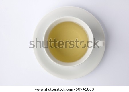cup of tea isolated on white background from above