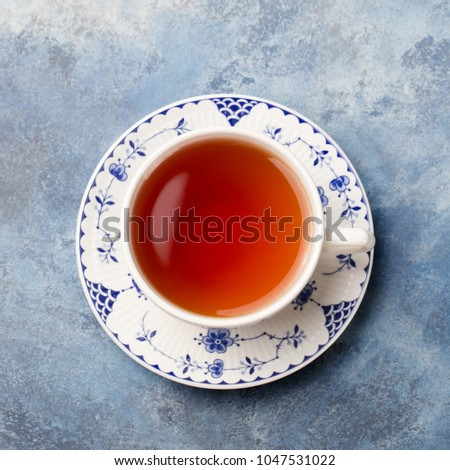 cup of tea on a blue stone...