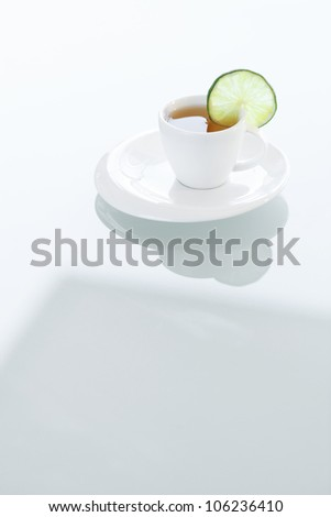 cup of tea on a glass surface