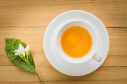 Cup of tea on a wooden background top view