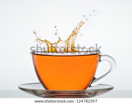 cup of tea on the mirror surface