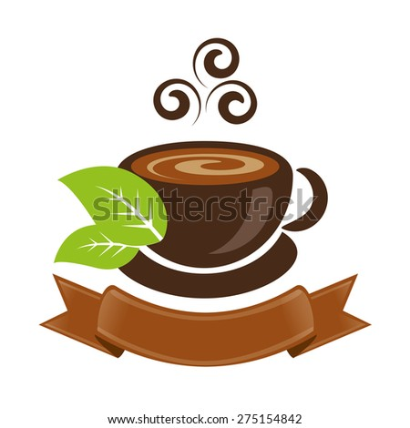 cup of tea or coffee with leaf and ribbon