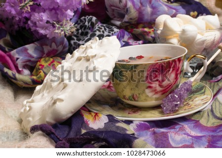 cup of tea with delicious...