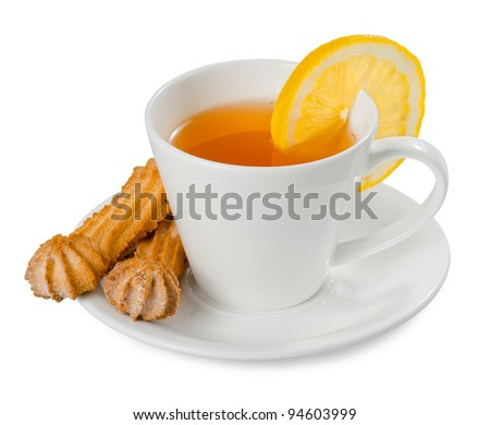 cup of tea with lemon and cookies