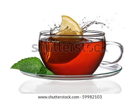 Cup of tea with lemon and splash