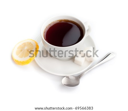 cup of tea with lemon and spoon isolated on white
