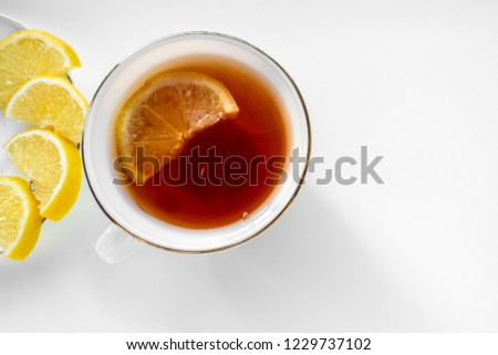 Cup of tea with lemon. Top view