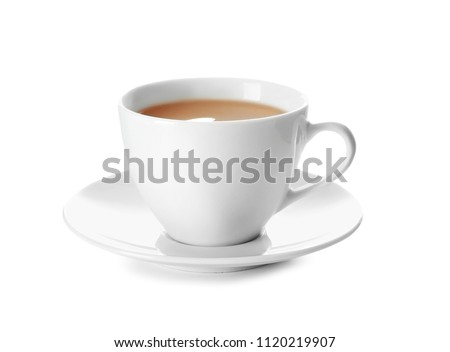 Cup of tea with milk on white background #1120219907