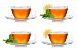 Cup of tea with mint and lemon on a white background