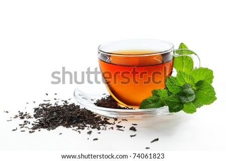 Cup of Tea with Mint Leaf,Isolated on White Background.