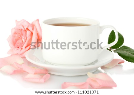 cup of tea with rose isolated on white