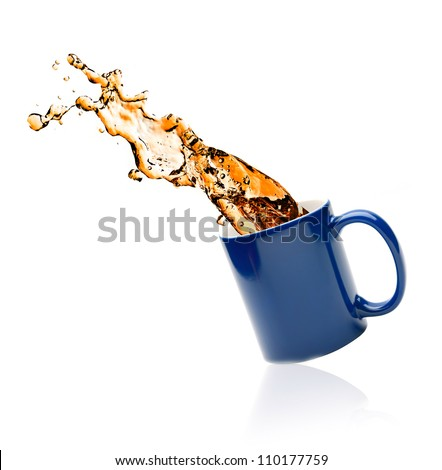 cup of tea with splashes on a white background