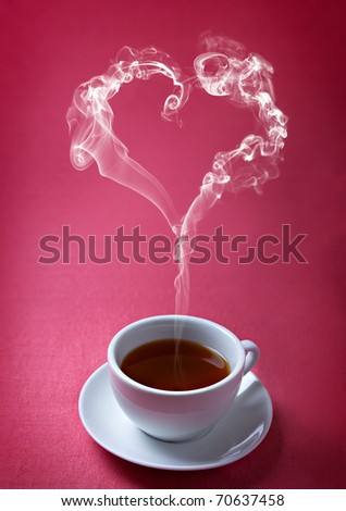 cup of tea with steam in a heart shape