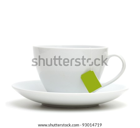 Cup of tea with tea bag (blank label) on white background #93014719