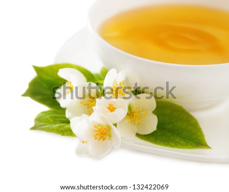 Cup of the jasmin tea isolated on white background