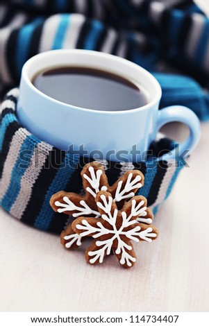 cup of warm tea with sweet cookie - tea time