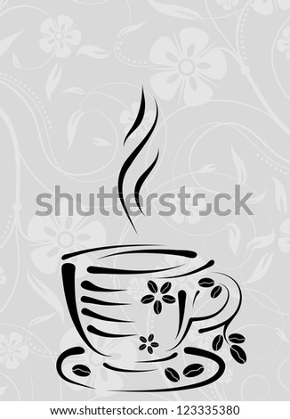 Cup on a floral pattern
