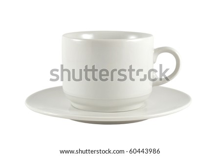 cup on saucer isolated on white background
