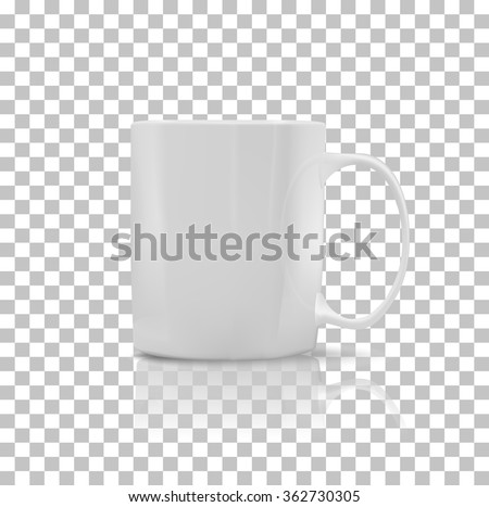 Cup or mug white color. Object coffee or tea, ceramic utensil, beverage breakfast, refreshment caffeine, handle container, realistic glossy elegance cup. Cup icon. Transparent background #362730305
