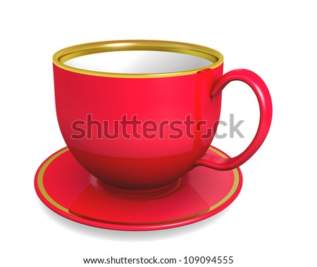 Cup, red color over white. 3d illustration