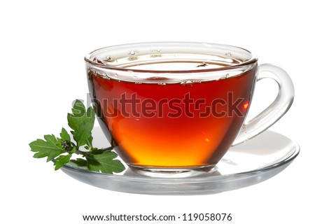 Cup tea and green leaf on white #119058076