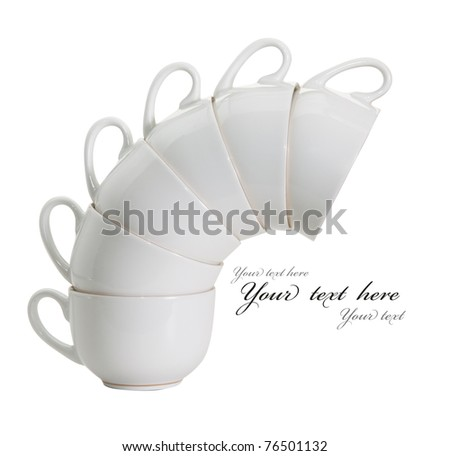 Cup white isolated on white background