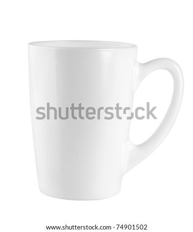 Cup white isolated on white background. Path