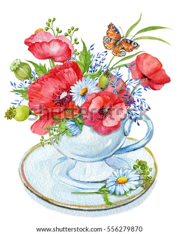 Cup with a bouquet of flowers.illustration of watercolor .red poppies and wildflowers daisies and butterfly