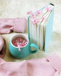 Cup with a drink, fresh flowers bookmarks in an open book, woolen pink sweater on a light background, top view, romantic congratulation, love emotion